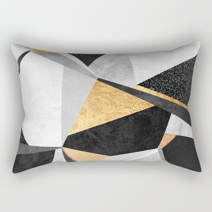Geometry / Gold Rectangular Pillow