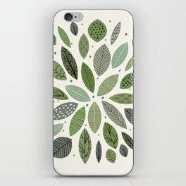Mid-Century Green Leaves iPhone Skin