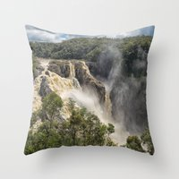 geology Throw Pillows featuring Beautiful Barron Falls by Wendy Townrow