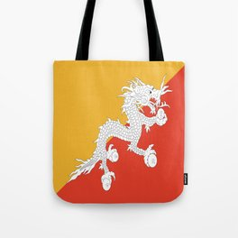 Flag of bhutan-,Bhutan, Himalaya, South Asia,Bhutanese, bhoutan, bhoutanais, dragon Tote Bag