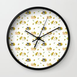 Puppies And Sunflowers Wall Clock