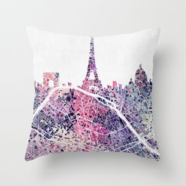 Paris Skyline + Map #1 Throw Pillow