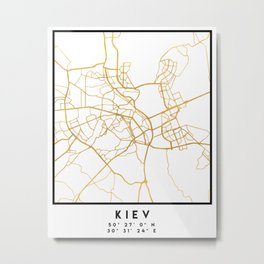 KIEV UKRAINE CITY STREET MAP ART Metal Print