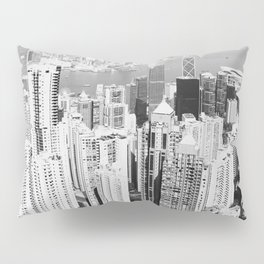 Hong Kong Cityscape // Sky Scraper Skyline Landscape Photography Black and White Buildings Pillow Sham