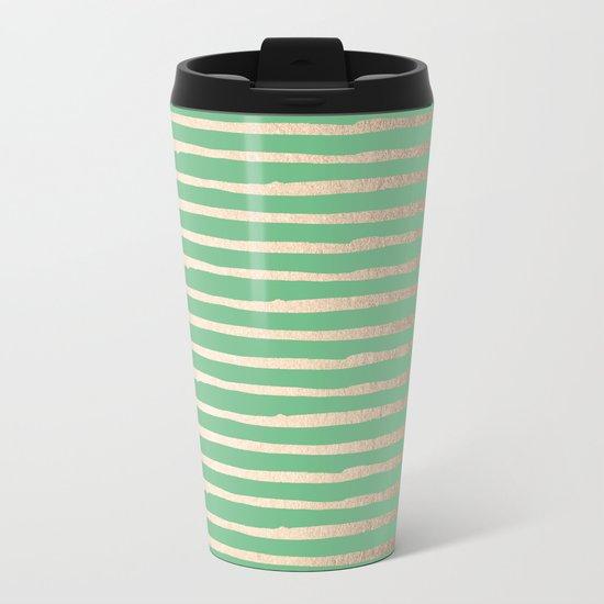 Abstract Stripes Gold Tropical Green Metal Travel Mug