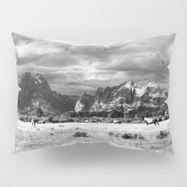 Horse and Grand Teton (Black and White) Pillow Sham