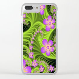 Fractal Cheerful Flowers, Pink With Green Clear iPhone Case