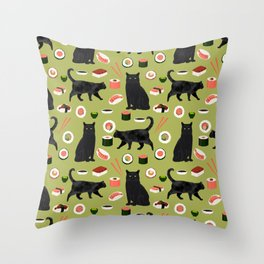 Black cat sushi cat breeds cat lover pattern art print cat lady must have Throw Pillow