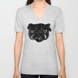 Irritated Sleepy Pug Dog Unisex V-Neck