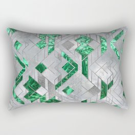 Abstract Geometric Malachite and Mother of pearl Rectangular Pillow