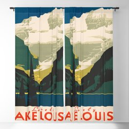 Lovely Lake Louise vintage travel ad Blackout Curtain