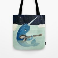 banjo Tote Bags featuring Narwhal's Aquarelle - Narwhal Plays Banjo by Prelude Posters