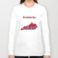 kentucky Long Sleeve T-shirts featuring Kentucky Map by Roger Wedegis