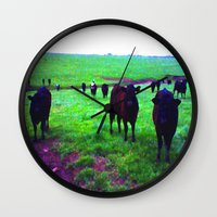 cows Wall Clocks featuring Cows by 13th Moon Social Club