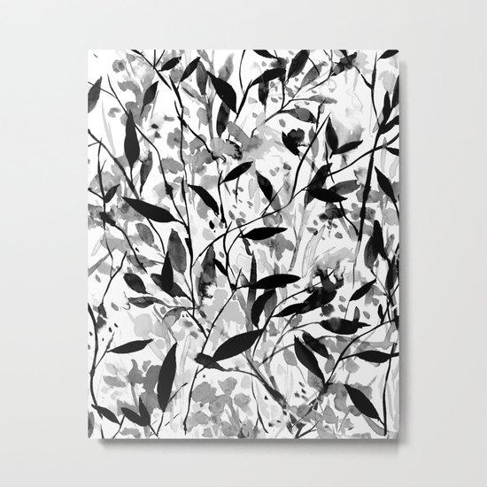 Wandering Wildflowers Black and White Metal Print