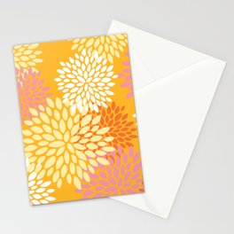 Bright Summer Floral Pattern, Colorful, Yellow, Orange, Pink Stationery Cards