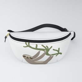 cute Three-toed sloth on green branch Fanny Pack