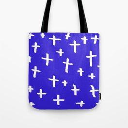 blue white cross Tote Bag