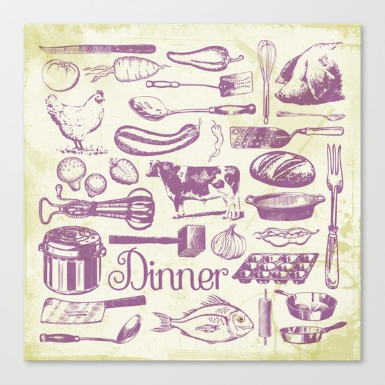 Retro Dinner - Aged Canvas Print