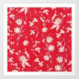 Festive Christmas Bright Red Passion Flowers Art Print