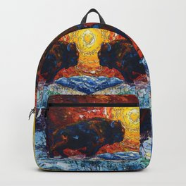 Bison Running print of OLena Art Wild the Storm Oil Painting With Palette Knife #society6 Backpack
