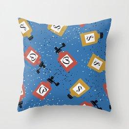 Kitschy Salt + Pepper Shakers in Blue Throw Pillow