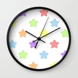 Mini Pastel Rainbow Stars Wall Clock