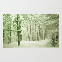 narnia Area & Throw Rugs featuring Winter Pine Trees by Olivia Joy StClaire
