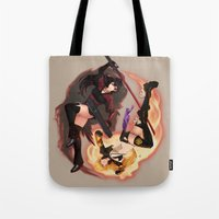 rwby Tote Bags featuring Raven + Yang by Scyfon