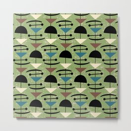 Retro Mid Century Modern Abstract Mobile 648 Green Blue Brown and Black Metal Print