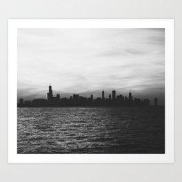 Black and White Chicago Seascape Art Print