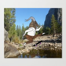 Baphomet's sixth failed attempt over a creek in Yosemite, which resulted in him focusing his board. Canvas Print