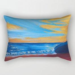 beach landscape painting, seascape art, boat art Rectangular Pillow