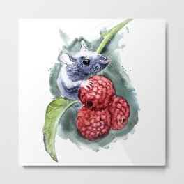 Cute Mouse with berries Metal Print