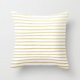 Gold Paris Stripe Pattern Throw Pillow