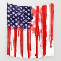 american flag Wall Tapestries featuring American Spatter Flag by Nicklas Gustafsson