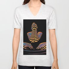1183s-MAK Nude Abstract Striped Zebra Woman Hands Over Face by Chris Maher Unisex V-Neck