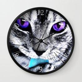 Purple eyes Cat Wall Clock