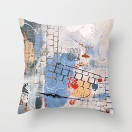 Breaking Down The Walls Blue Abstract Throw Pillow