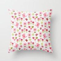 karu kara Throw Pillows featuring JARDIN DE L'AMOUR by Daisy Beatrice