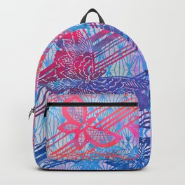 Filigree Butterfly Stencil - Chinoiserie Chic Watercolor Art -  Sky Blue, Red, Pink Backpack
