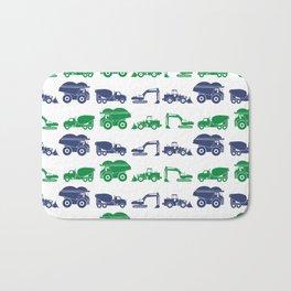 Blue and Green Construction Vehicles Bath Mat