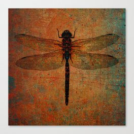 Dragonfly On Orange and Green Background Canvas Print