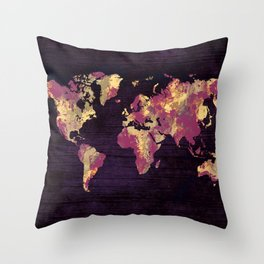 world map 86 red yellow Throw Pillow