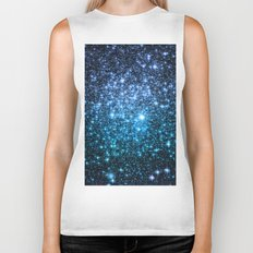 Galaxy Sparkle Stars Periwinkle Blue Turquoise Ombre Biker Tank
