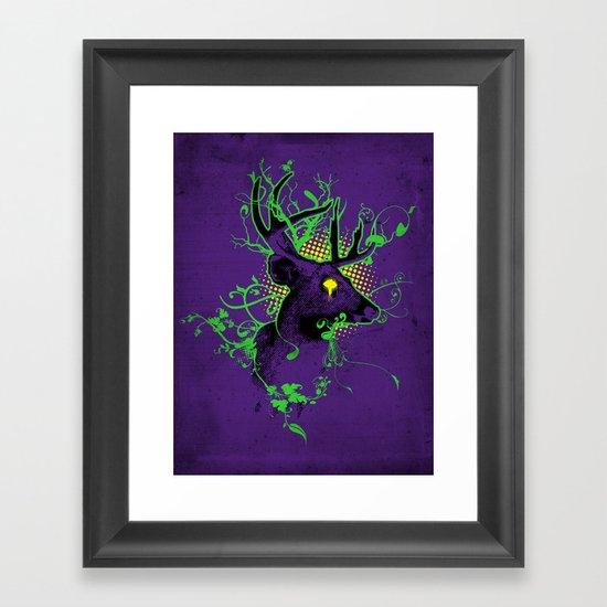 Trippy Ghost Deer Framed Art Print