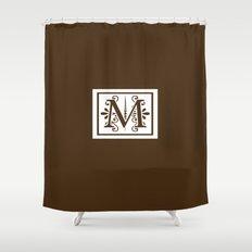 Monogram Letter M on Dark Brown Shower Curtain