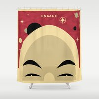 picard Shower Curtains featuring Star Trek TNG Jean Luc Picard Enterprise by jake
