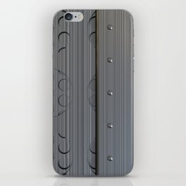 Brushed metal plate with rivets and circular grille iPhone Skin