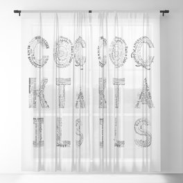 Cocktails Tag Cloud Sheer Curtain
